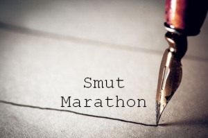 Logo for Smut Marathon, showing a fountain pen nib writing on parchment